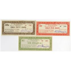 Clay Center, Clay County, Kansas Chamber of Commerce, 1933 Depression Scrip Lot of 3 notes.