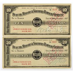 Duluth, Missabe & Northern Railway Company, 1907 Panic Currency Pair.