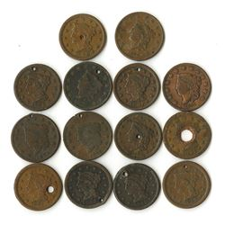 "Holey ""U.S. Large Cents"", ca.1825 to 1853 Assortment, From 200 Year Old New Jersey Estate, ca.1825 t"