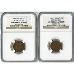 United States: Pair of 1864 Pennies with Mint Errors,