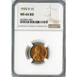 United States: 1935 D Lincoln Cent, KM# 132. NGC graded MS 66 RD.