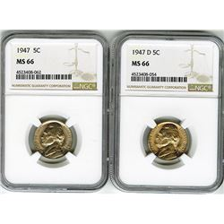 United States: Pair of 1947 and 1947 D Nickels,