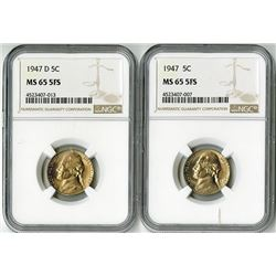 United States: Pair of Five Full Steps 1947 and 1947 D Nickels,