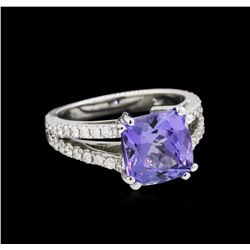 4.60 ctw Tanzanite and Diamond Ring - 14KT White Gold