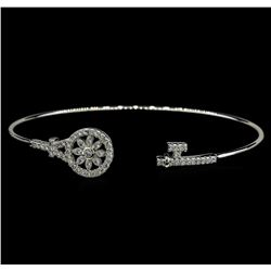CZ Key Open Bangle Bracelet - Rhodium Plated