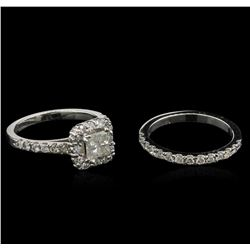 1.50 ctw Diamond Wedding Ring Set - 14KT White Gold