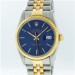 Rolex Two-Tone Blue Index DateJust Men's Watch