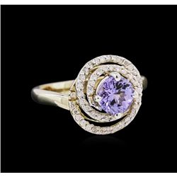 1.07 ctw Tanzanite and Diamond Ring - 14KT Two-Tone Gold