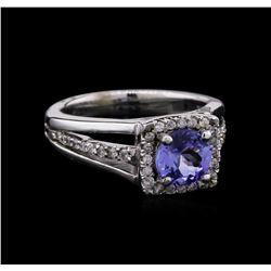 1.08 ctw Tanzanite and Diamond Ring - 14KT White Gold