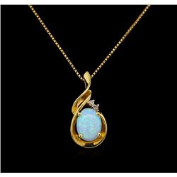 1.00 ctw Opal and Diamond Pendant With Chain - 14KT Yellow Gold