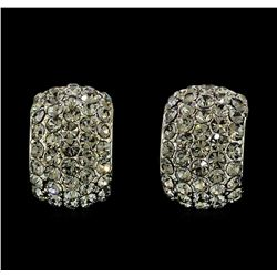 10x15mm Crystal Pave Hoop Earrings - Metal