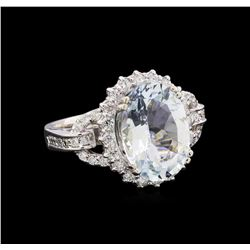 4.70 ctw Aquamarine and Diamond Ring - 14KT White Gold