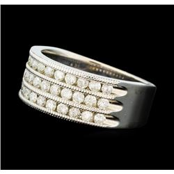 1.00 ctw Three Row Diamond Band - 14KT White Gold