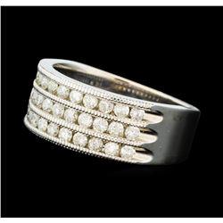 1.00 ctw Three Row Diamond Band - 14KT White Gold