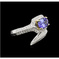 1.40 ctw Tanzanite and Diamond Ring - 18KT Two-Tone Gold