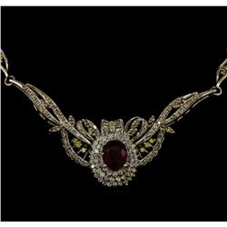 3.95 ctw Ruby and Diamond Necklace - 14KT White Gold