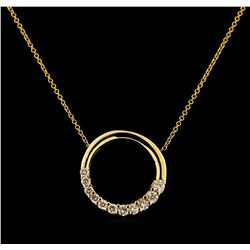 0.27 ctw Diamond Pendant With Chain - 14KT Yellow Gold