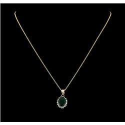 4.02 ctw Emerald and Diamond Pendant With Chain - 14KT Yellow Gold
