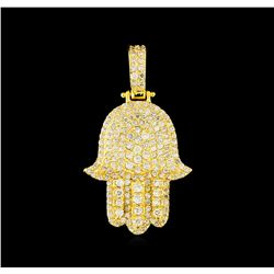 2.00 ctw Diamond Hamsa Pendant - 14KT Yellow Gold