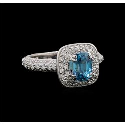 1.85 ctw Blue Zircon and Diamond Ring - 14KT White Gold
