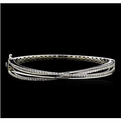 1.25 ctw Diamond Bangle Bracelet - 14KT White Gold