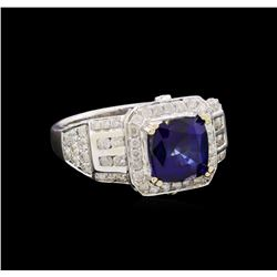 14KT White Gold 3.23 ctw Sapphire and Diamond Ring