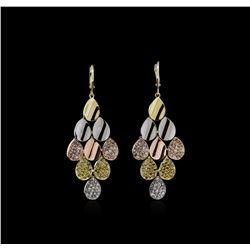 14KT Tri-Color Gold 2.23 ctw Diamond Earrings