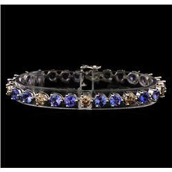 14KT White Gold 9.46 ctw Tanzanite and Diamond Bracelet