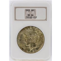 1922 NGC MS64 Peace Silver Dollar