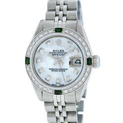 Rolex Stainless Steel MOP Diamond and Emerald DateJust Ladies Watch