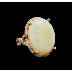 14KT Rose Gold 12.94 ctw Opal and Diamond Ring