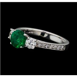0.94 ctw Emerald and Diamond Ring - 14KT White Gold