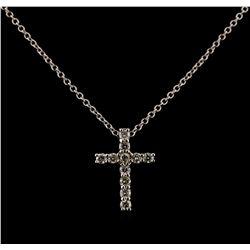 0.34 ctw Diamond Cross Pendant With Chain - 14KT White Gold