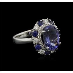 3.75 ctw Tanzanite, Sapphire and Diamond Ring - 14KT White Gold