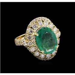 2.78 ctw Emerald and Diamond Ring - 14KT Yellow Gold