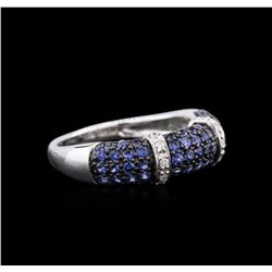 10KT White Gold 1.06 ctw Blue Sapphire and Diamond Ring