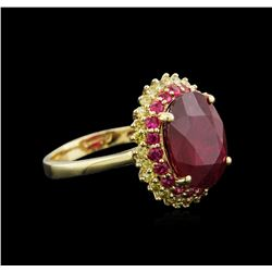 7.44 ctw Ruby and Diamond Ring - 14KT Yellow Gold
