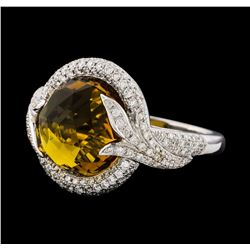 8.40 ctw Yellow Topaz and Diamond Ring - 14KT White Gold