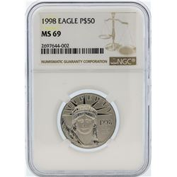 1998 NGC MS69 $50 Eagle Platinum Coin