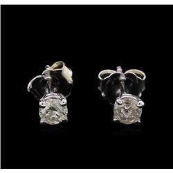 0.38 ctw Diamond Stud Earrings - 14KT White Gold