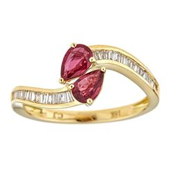 0.77 ctw Ruby and Diamond Ring - 18KT Yellow Gold
