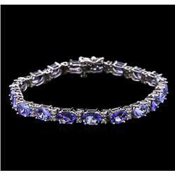 13.70 ctw Tanzanite and Diamond Bracelet - 14KT White Gold