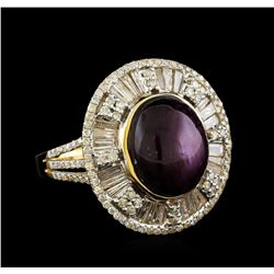 12.73 ctw Star Ruby and Diamond Ring - 14KT Yellow Gold