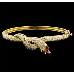 0.28 ctw Ruby and Diamond Bracelet - 18KT Yellow Gold
