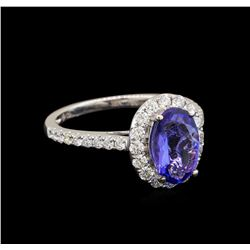 18KT White Gold 1.69 ctw Tanzanite and Diamond Ring