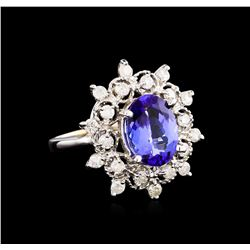 14KT White Gold 3.07 ctw Tanzanite and Diamond Ring