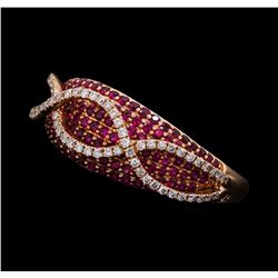 0.81 ctw Ruby and Diamond Ring - 14KT Rose Gold