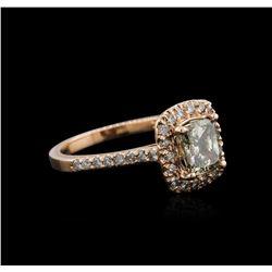 14KT Rose Gold 1.66 ctw Fancy Yellowish Green Diamond Ring