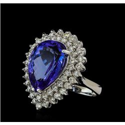 11.90 ctw Tanzanite and Diamond Ring - 14KT White Gold