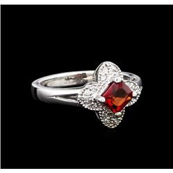 1.02 ctw Red Sapphire and Diamond Ring - 14KT White Gold